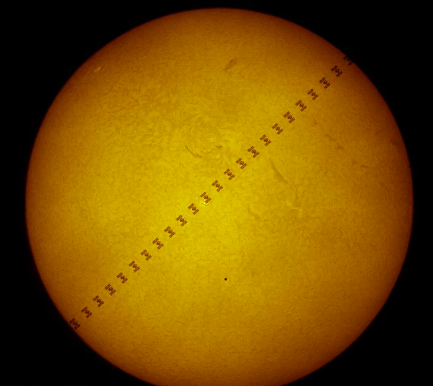 Stunning: This picture was previously taken showing the ISS in front of Mercury as it passed the Sun (Thierry Legault/ESA)