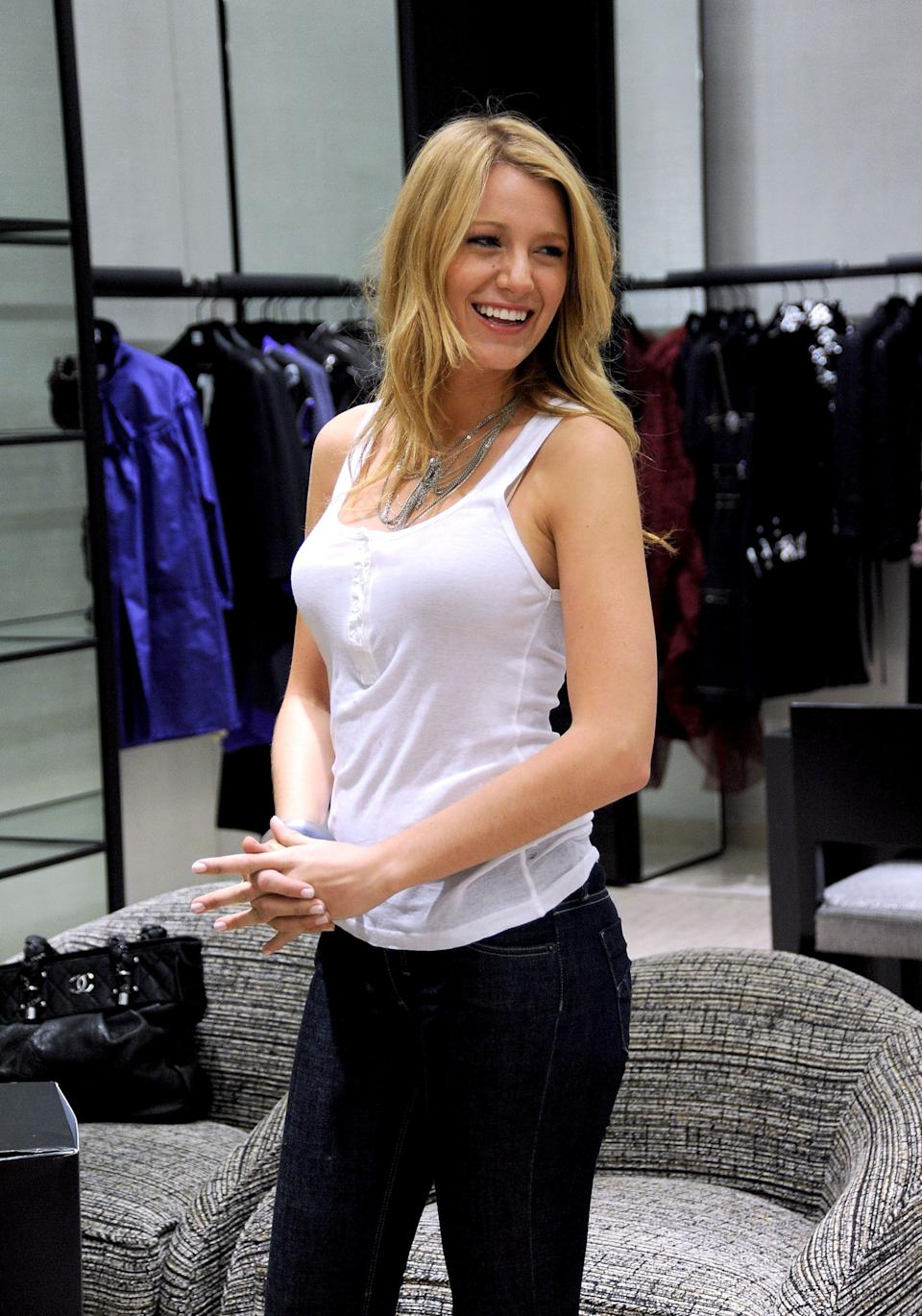 (EXCLUSIVE, Premium Rates Apply) NEW YORK - SEPTEMBER 02:  Actress Blake Lively shops at the Chanel Boutique at Saks Fifth Avenue on September 2, 2008 in New York City.  (Photo by James Devaney/WireImage)
