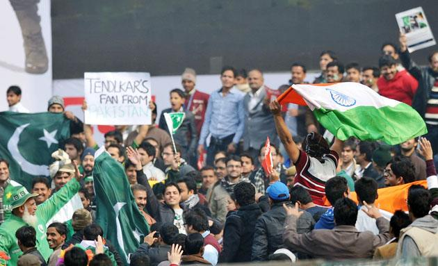 Indian & Pakistan Spectators celebrating the 3rd One Day Internationals Match between India & Pakistan at Ferozeshah Kotla Stadium in Delhi on January 6, 2013. P D Photo by Asish Maitra