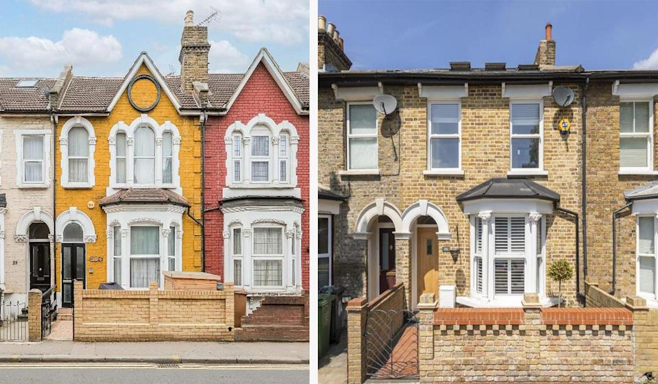 3-bed houses in Walthamstow: left, £725k, so £3,204 a month mortgage (with a 10% deposit), vs. £1,995 a month in rent, right (Churchills   The Stow Brothers)