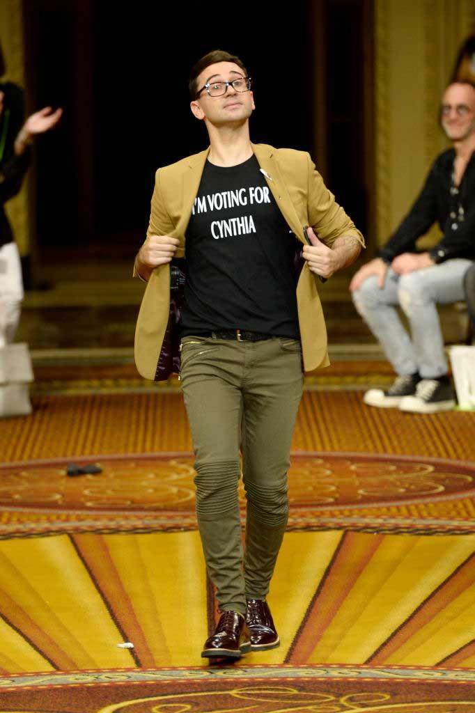 """<p>At the end of his show, Christian Siriano walked the runway wearing his own statement T-shirt that read, """"I'm Voting for Cynthia."""" The 2018 New York gubernatorial primary is taking place on Sept. 13. (Photo: Getty) </p>"""