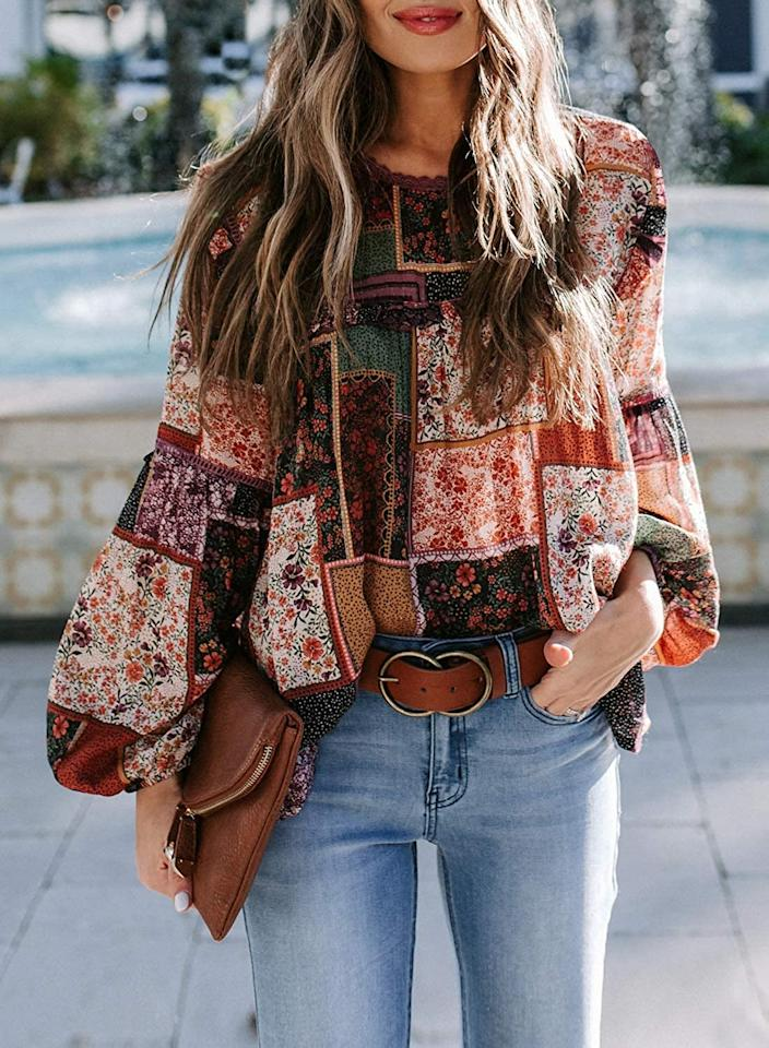 """<p>This <product href=""""https://www.amazon.com/Biucly-Chiffon-Balloon-Blouses-Pullover/dp/B08DG1KHFH/ref=sr_1_21?dchild=1&amp;qid=1597707592&amp;rnid=2368343011&amp;s=apparel&amp;sr=1-21&amp;th=1&amp;psc=1"""" target=""""_blank"""" class=""""ga-track"""" data-ga-category=""""Related"""" data-ga-label=""""https://www.amazon.com/Biucly-Chiffon-Balloon-Blouses-Pullover/dp/B08DG1KHFH/ref=sr_1_21?dchild=1&amp;qid=1597707592&amp;rnid=2368343011&amp;s=apparel&amp;sr=1-21&amp;th=1&amp;psc=1"""" data-ga-action=""""In-Line Links"""">Biucly Casual Boho Floral-Print Top</product> ($20) comes in many pattern options.</p>"""