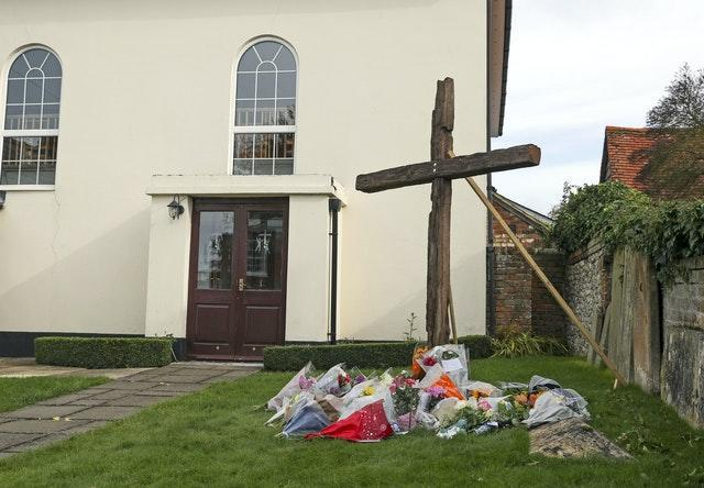 Floral tributes left outside Chinnor Community Church in Oxfordshire