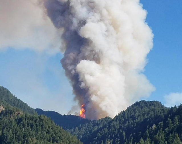 <p>The Eagle Creek wildfire burns in the Columbia River Gorge east of Portland, Ore. A lengthy stretch of highway Interstate 84 remains closed Sept. 5, 2017, as crews battle the growing Eagle Creek wildfire that has also caused evacuations and sparked blazes across the Columbia River in Washington state. (Photo: Inciweb via AP) </p>