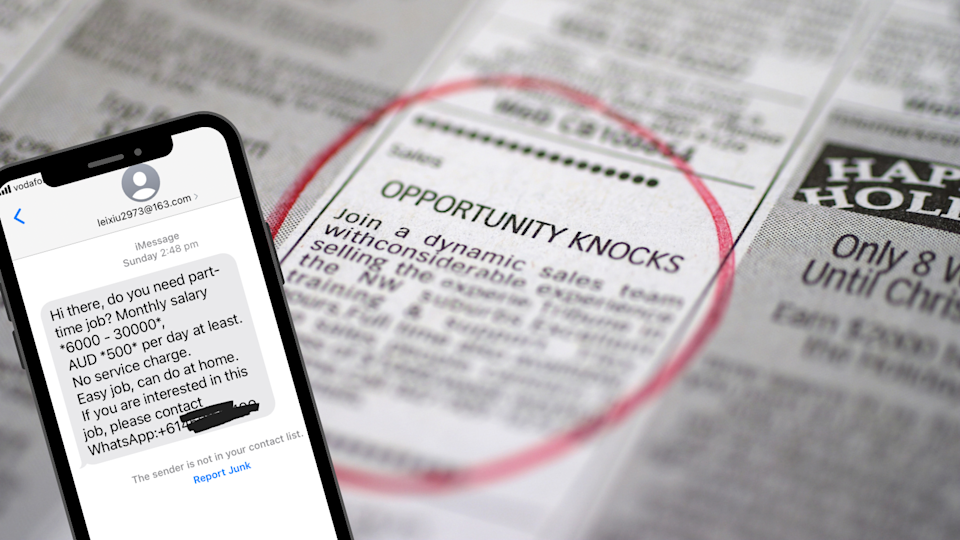 Image of job ad in paper, phone screenshot of scam text