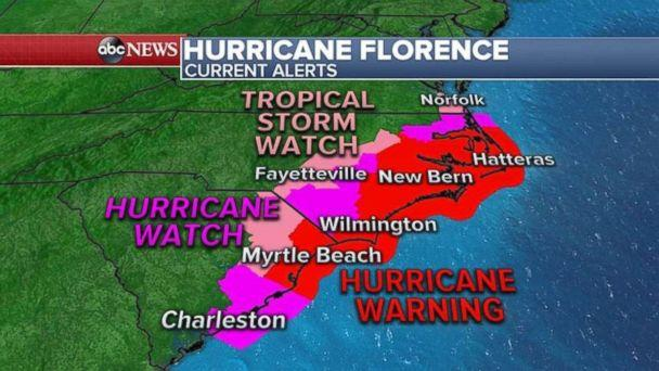 PHOTO: Hurricane warnings, watches and tropical storm watches are now in place for the South Carolina and North Carolina coasts. (ABC News)