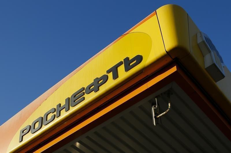 Logo of Russia's top crude producer Rosneft is seen on a gasoline station in Moscow