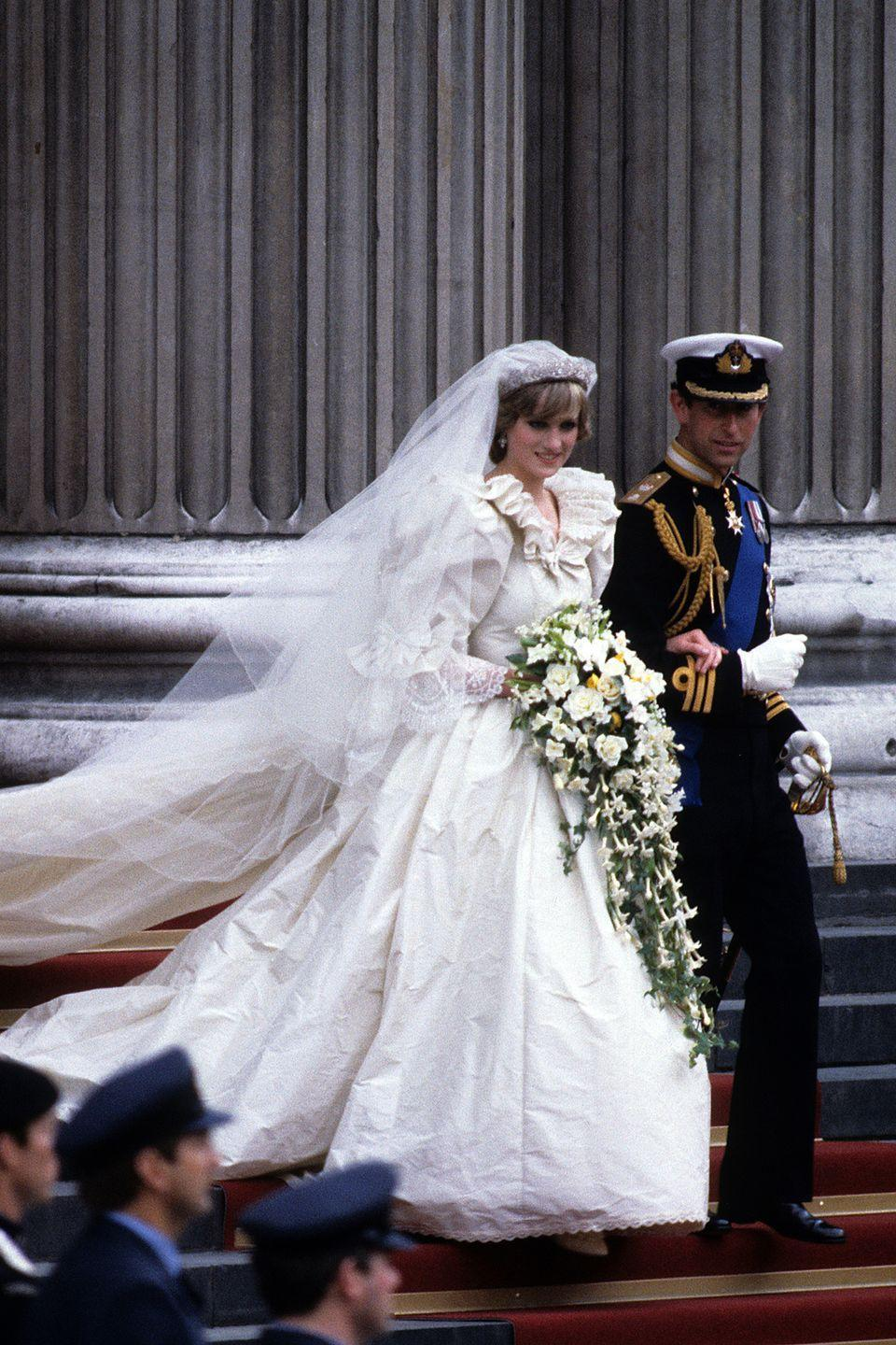 "<p>In the seven months leading up the wedding, Princess Diana's waistline shrunk over 5 inches as she lost more and more weight. (<a href=""http://www.goodhousekeeping.com/life/news/a44618/princess-diana-audio-tape-transcripts/"" rel=""nofollow noopener"" target=""_blank"" data-ylk=""slk:She would later open up about her struggles with eating disorders."" class=""link rapid-noclick-resp"">She would later open up about her struggles with eating disorders.</a>) The designers made five different bodices to fit, and ultimately stitched her into the final version that day. </p>"
