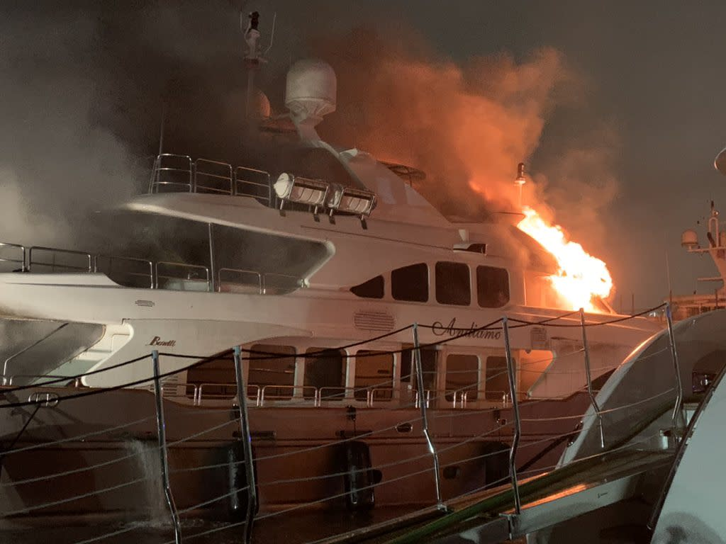 Marc Anthony's yacht caught fire on Wednesday and capsized. (Photo: Miami Fire Rescue via Twitter)