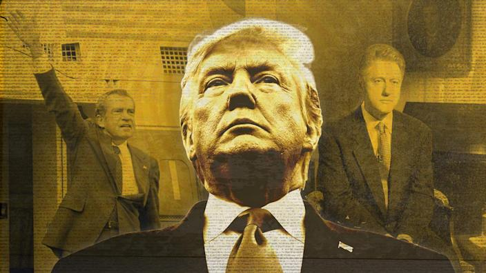 Presidents Richard Nixon, Donald Trump and Bill Clinton. (Photo illustration: Yahoo News; Photos: Chick Harrity / AP, AP, Luke Frazza / AFP via Getty Images)
