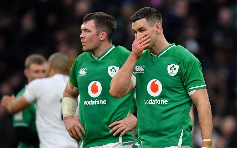 Peter O'Mahony, left, and Jonathan Sexton of Ireland after the Guinness Six Nations Rugby Championship match between England and Ireland - SPORTSFILE