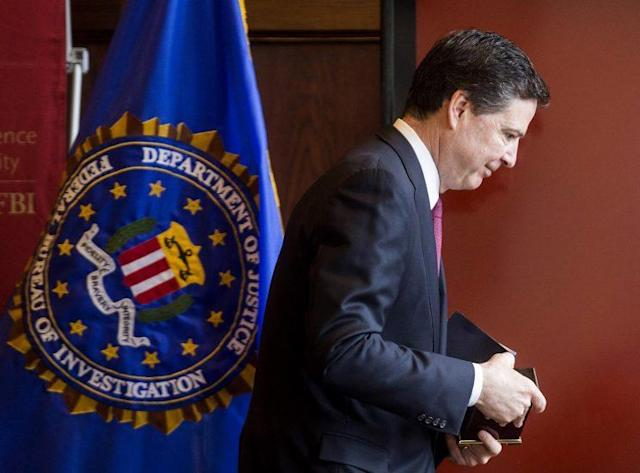 Then-FBI Director James Comey exits the stage after speaking at a conference in Boston on March 8. (Photo: Scott Eisen/Bloomberg via Getty Images)