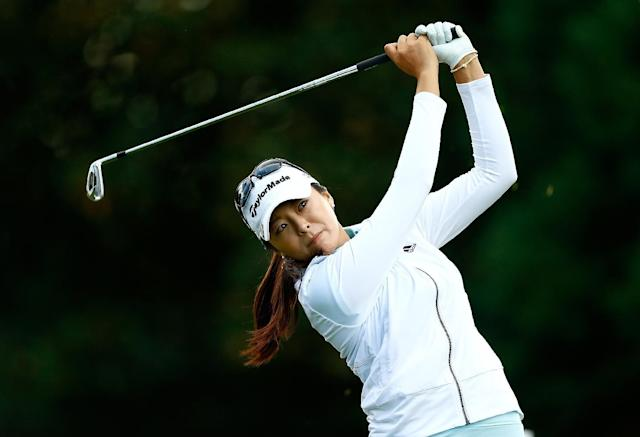 Hur Mi-Jung tees off on the 2nd hole during the third round of the LPGA Portland Classic on August 30, 2014 in Portland, Oregon (AFP Photo/Jonathan Ferrey)
