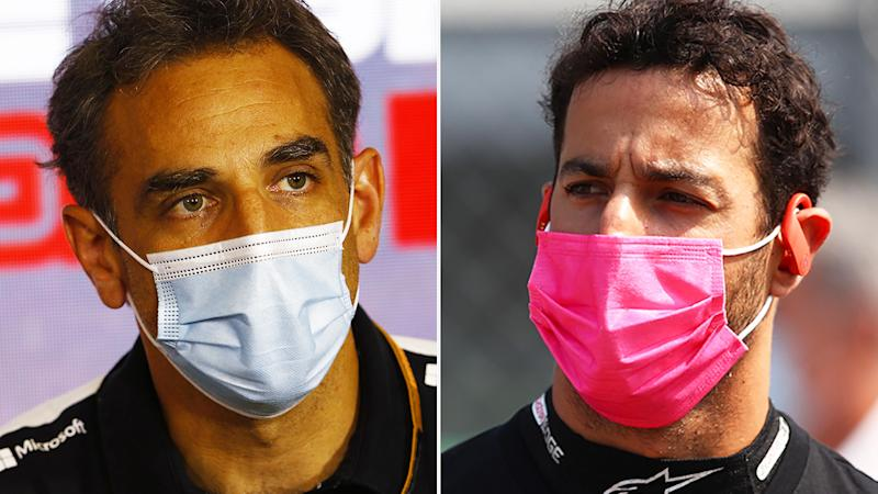 A 50-50 split image shows Cyril Abiteboul on the left and Daniel Ricciardo on the right.