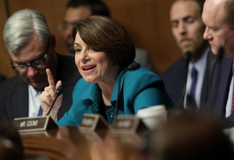 U.S. Sen. Amy Klobuchar, D-Minn., speaks as U.S. Attorney General William Barr testifies before the Senate Judiciary Committee May 1, 2019, in Washington, D.C. (Photo: Alex Wong/Getty Images)