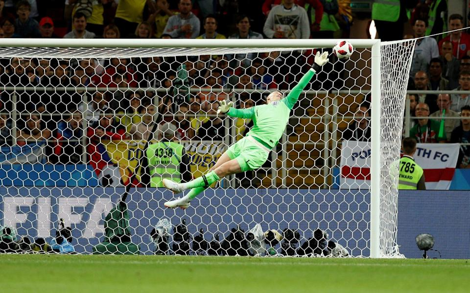Jordan Pickford makes an outstanding save against Colombia - REUTERS