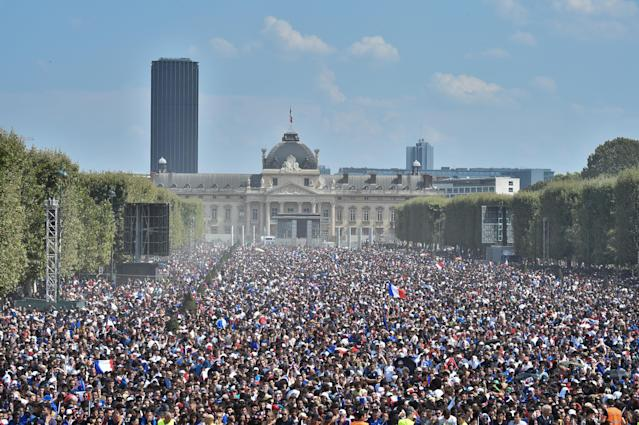 <p>General view of the Fan Zone before the World Cup Final, France against Croatia, at the Champs de Mars on July 15, 2018 in Paris, France. (Getty Images) </p>