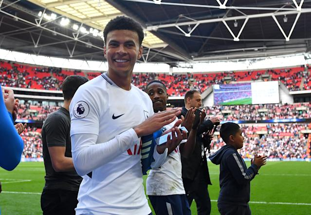 "Soccer Football - Premier League - Tottenham Hotspur vs Leicester City - Wembley Stadium, London, Britain - May 13, 2018 Tottenham's Dele Alli on a lap of honour after the match REUTERS/Dylan Martinez EDITORIAL USE ONLY. No use with unauthorized audio, video, data, fixture lists, club/league logos or ""live"" services. Online in-match use limited to 75 images, no video emulation. No use in betting, games or single club/league/player publications. Please contact your account representative for further details."