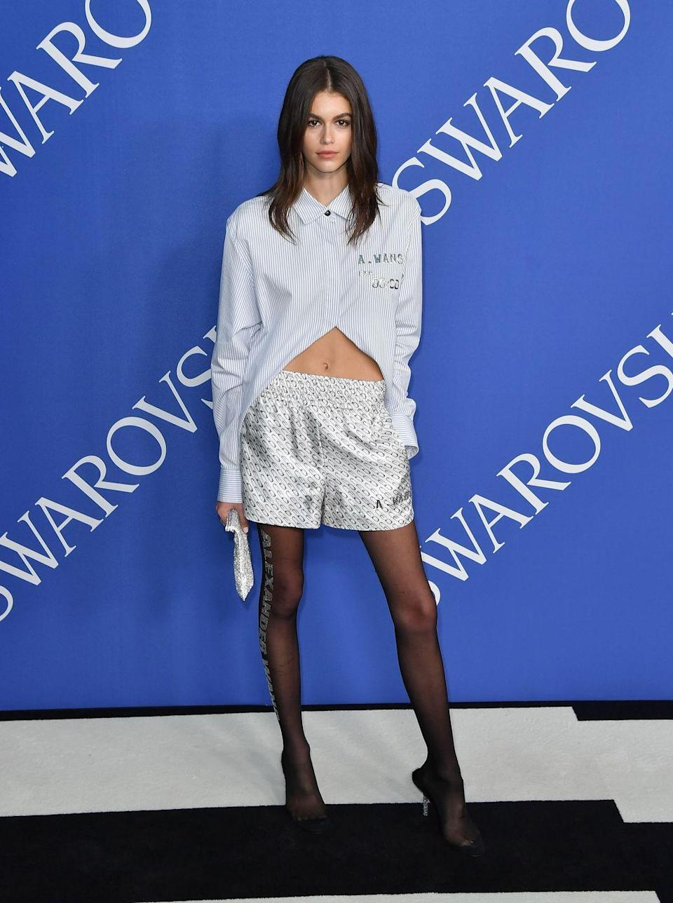 <p>Gerber wore a pair of Alexander Wang boxer trousers to the CFDA event in New York City, June 2018. </p>