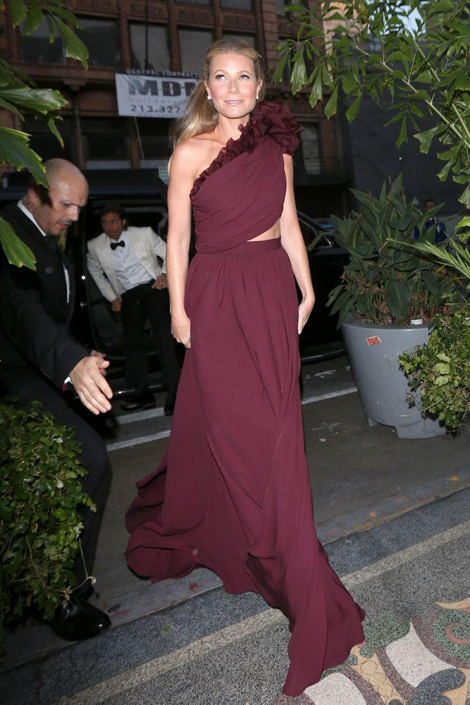 Gwyneth Paltrow arriving to her engagement party in Giambattista Valli.