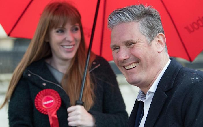 Labour Party leader Sir Keir Starmer and former deputy party leader Angela Rayner on the campaign trail on May 5, 2021 - Pool/Getty Images