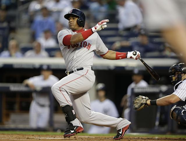 Boston Red Sox left fielder Yoenis Cespedes watches a first-inning RBI double off New York Yankees starting pitcher Shane Greene in a baseball game at Yankee Stadium in New York, Tuesday, Sept. 2, 2014. (AP Photo/Kathy Willens)