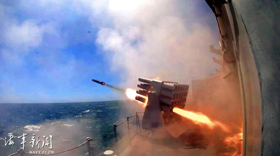 The Chinese navy conducts a live-fire drill in the East China Sea in August 2020 amid increasing military tension in the region, exercising for three days in the scenario of 'sudden encounter with enemy in air and surface', the official PLA Naval News said. Photo: Navy.81.cn