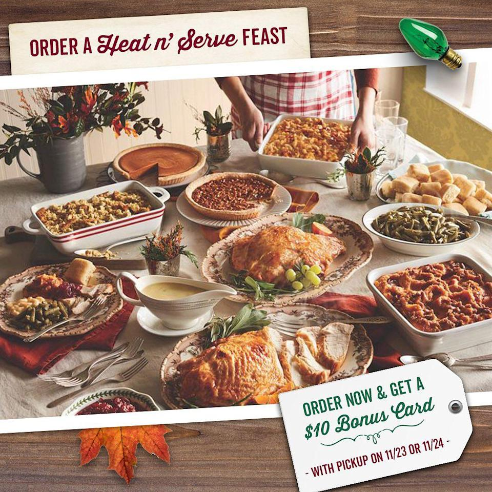 <p>Cracker Barrel's heat and serve meals are filled with all the Thanksgiving comfort food staples. Available in multiple sizes that serve up to 10 people, most of the meals are completely ready in just two hours. Don't forget to grab one of their famous pies, too. </p>