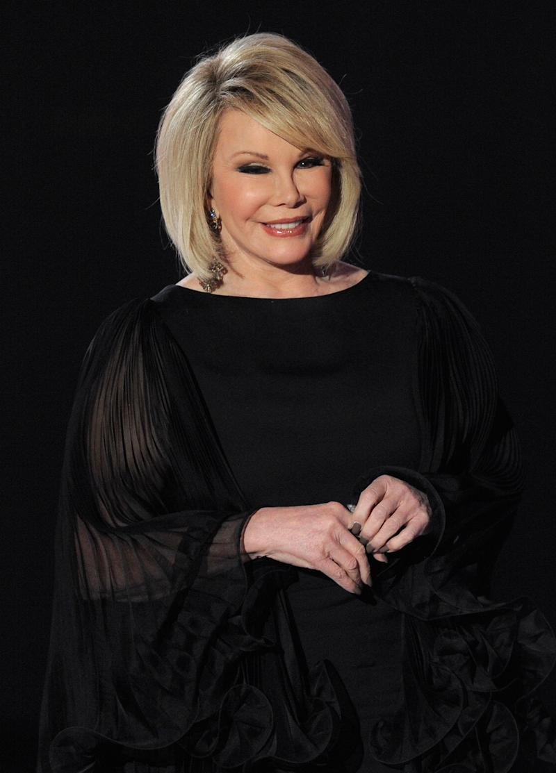 Joan Rivers is seen on stage at the 16th Annual Critics' Choice Movie Awards on Friday, Jan. 14, 2011, in Los Angeles. (AP Photo/Chris Pizzello)