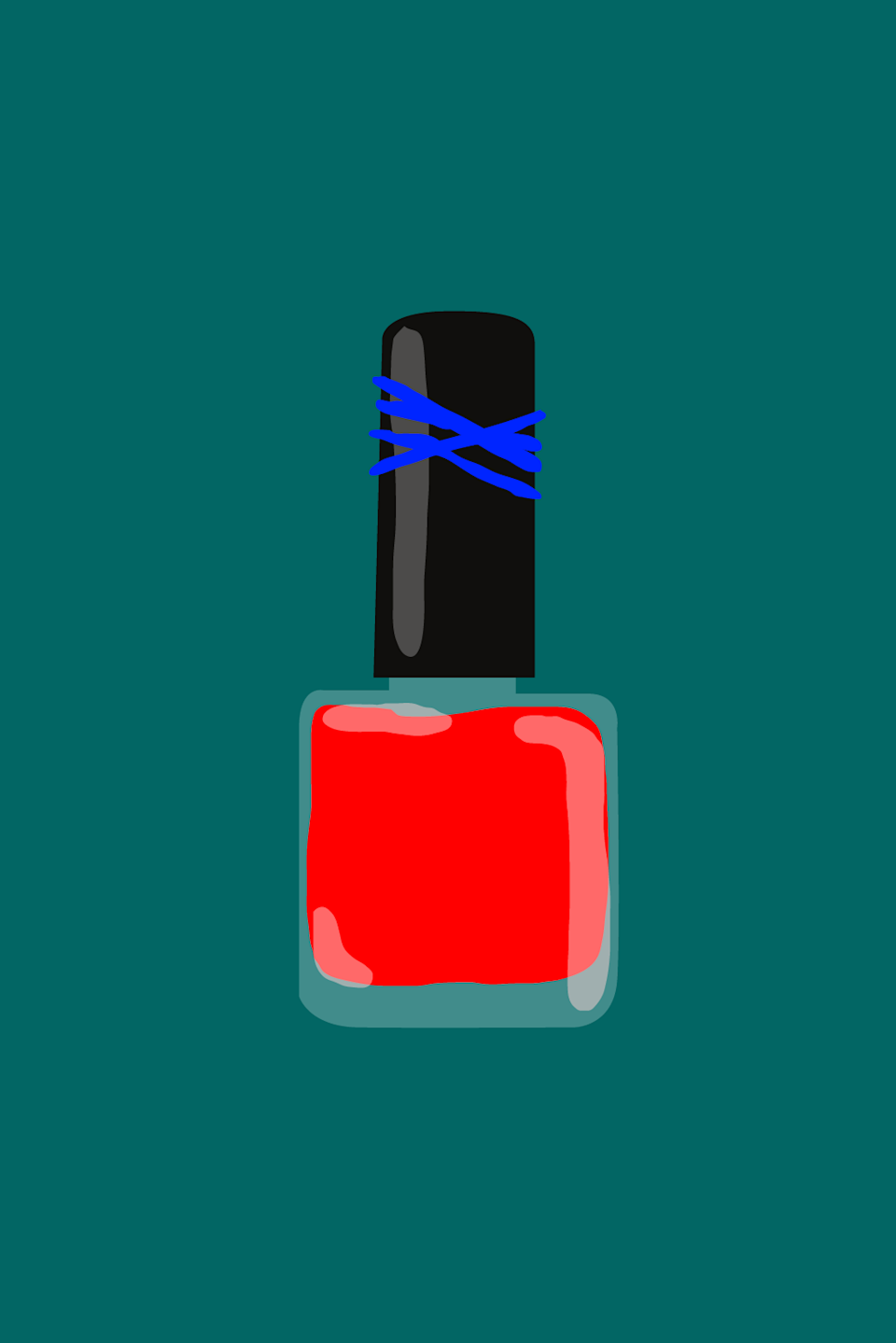 """<strong>10. Rubber Band = Nail Polish Opener </strong><br><br>Who among us hasn't used our own teeth to try to pry to open a stubborn, sealed shut nail polish bottle? Dental care is expensive, so try this simple and effective hack instead: Wrap the lid of the bottle in a rubber band to create a grip, then put a little elbow into it to twist that sucker loose.<span class=""""copyright"""">Illustrated by Isabel Castillo.</span>"""