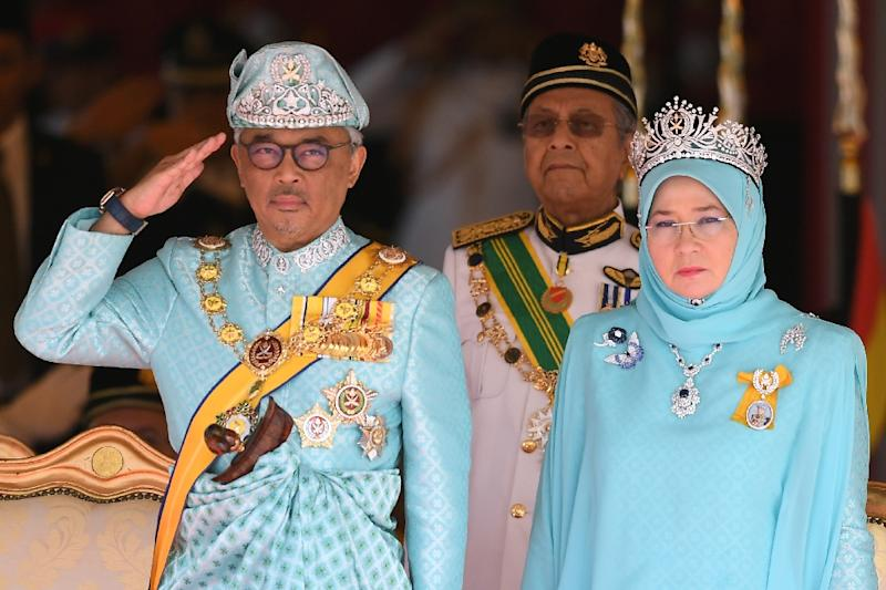 Malaysia's new king, the Sultan of Pahang, was enthroned at the national palace in Kuala Lumpur (AFP Photo/MOHD RASFAN)