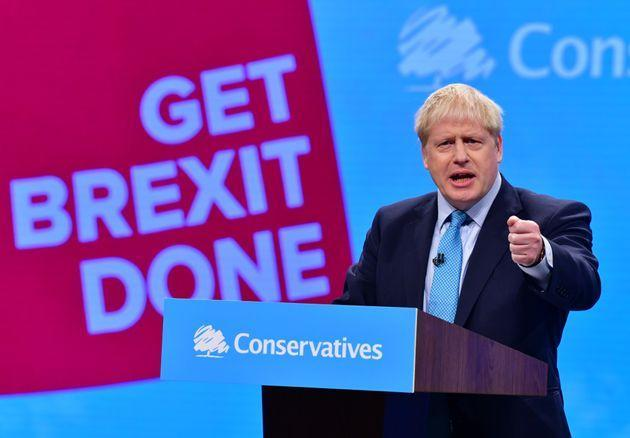 Prime Minister Boris Johnson delivering his keynote speech to the Conservative Party conference in 2019. (Photo: Getty Images)
