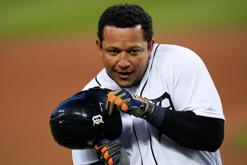 Tigers designated hitter Miguel Cabrera gestures with his helmet against the Indians in the first inning at Comerica Park on Friday, Sept. 18, 2020.
