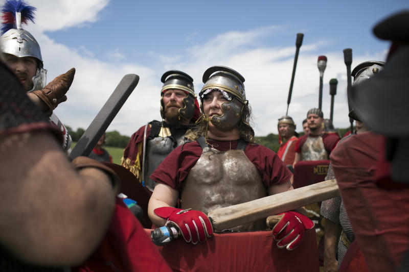 Ragnarok attendees preparing to battle.  (Maddie McGarvey for HuffPost)
