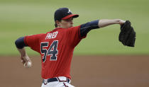 Atlanta Braves pitcher Max Fried works against the St. Louis Cardinals in the first inning of a baseball game Friday, June 18, 2021, in Atlanta. (AP Photo/Ben Margot)