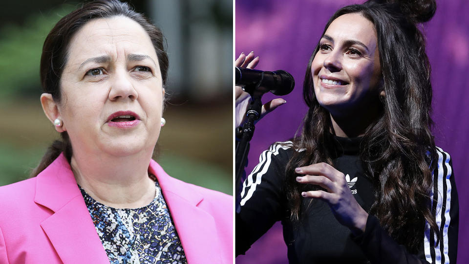 Amy Sharkk and Annastacia Palaszczuk, pictured here in Queensland.