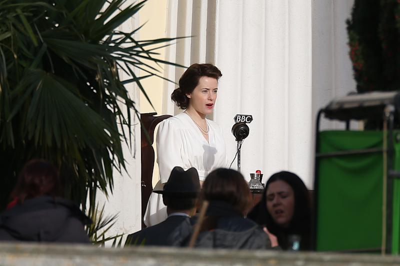 Claire Foy films a forthcoming scene from The Crown.