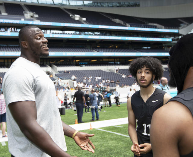 Efe Obada at the NFL Academy trails at the Tottenaham Hotspur stadium (NFL/Sean Ryan)