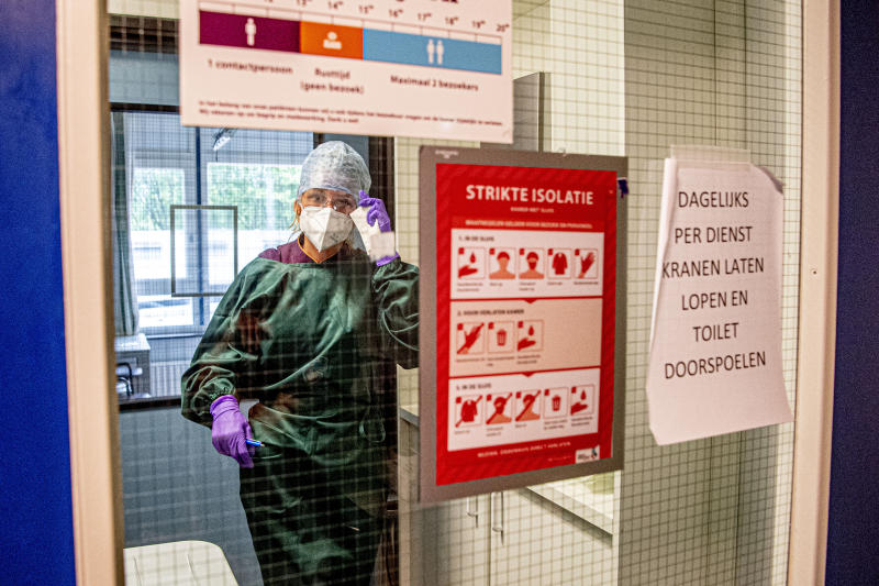 DORDRECHT NETHERLANDS- 2020/06/29 A health worker gets prepared at the isolation ward of Albert Schweitzer Hospital where the last four coronavirus patients are located