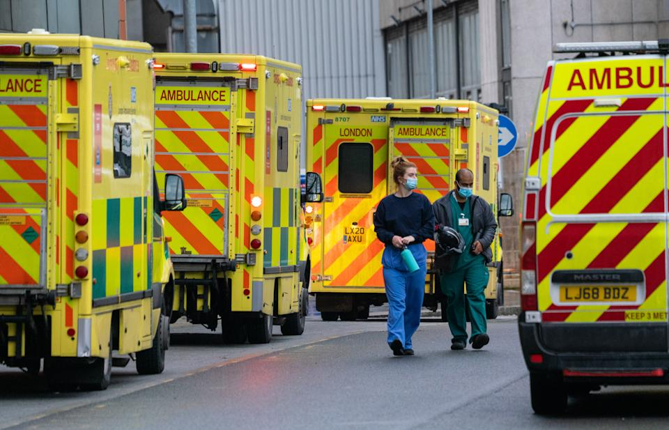Medical personnel and ambulances outside the Royal London Hospital, in London, during England's third national lockdown to curb the spread of coronavirus. Picture date: Wednesday January 20, 2021. (Photo by Dominic Lipinski/PA Images via Getty Images)