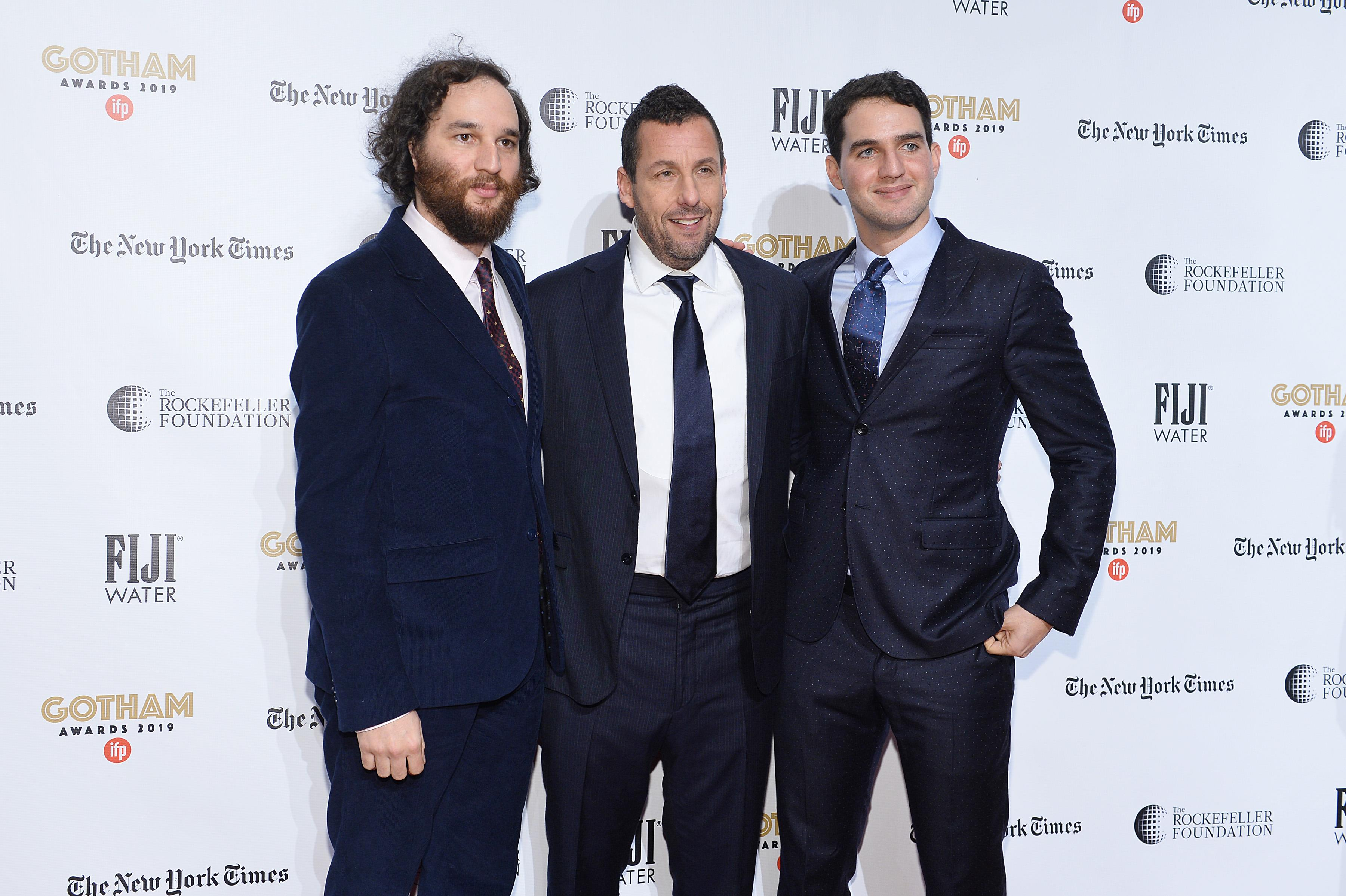 Josh Safdie, Adam Sandler and Benny Safdie attend the 2019 IFP Gotham Awards on December 02, 2019. (Photo by Noam Galai/Getty Images for FIJI Water)