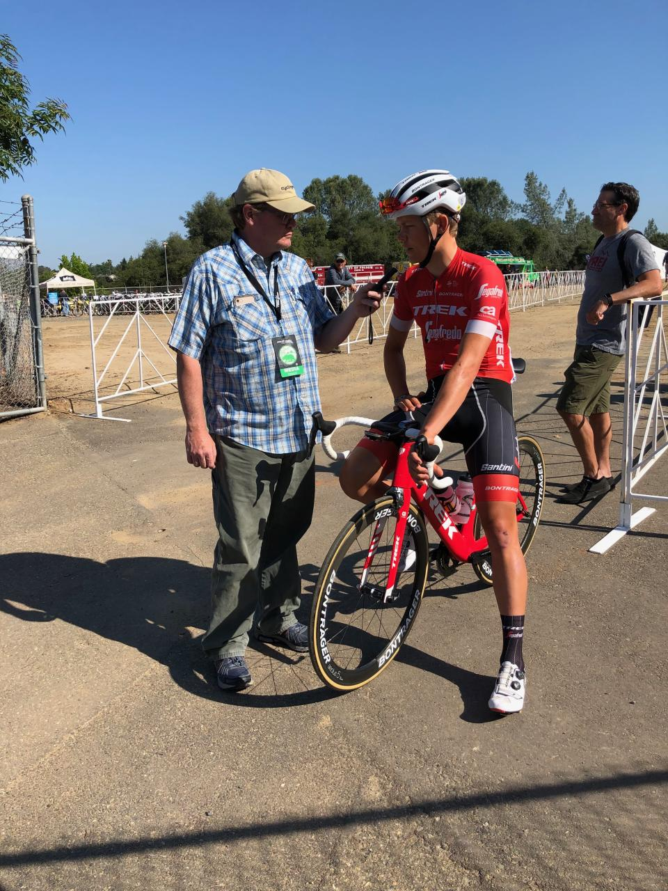 Toms Skujins is interviewed at 2018 Amgen Tour of California