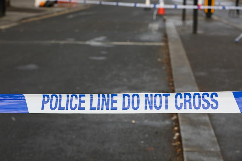 A Police tape seen around the crime scene near Turnpike Lane tube station in north London following a shooting. A 17 years old boy is in hospital after suffering from gunshot wounds on Wood Green High Road, near Turnpike Lane underground station in north London. (Photo by Steve Taylor / SOPA Images/Sipa USA)