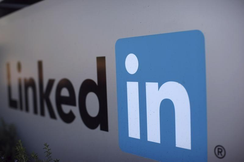 The logo for LinkedIn Corporation, a social networking website for people in professional occupations, is pictured in Mountain View