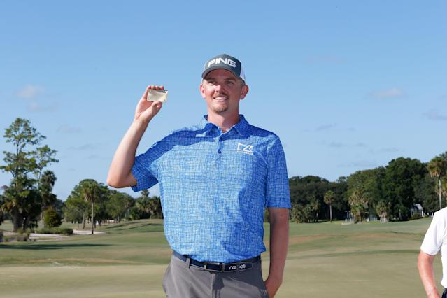 "<h1 class=""title"">Web.com Tour Championship - Final Round</h1> <div class=""caption""> Knous poses with his PGA Tour card after the final round of the Web.com Tour Championship in September. </div> <cite class=""credit"">Michael Cohen</cite>"