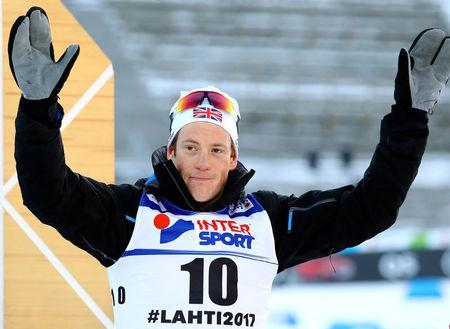 FILE PHOTO: FIS Nordic Ski World Championships - Men's Cross-Country 50 km Mass Start Free - Lahti, Finland - March 15, 2017 - Andrew Musgrave from Britain celebrates after the race. REUTERS/Kai Pfaffenbach