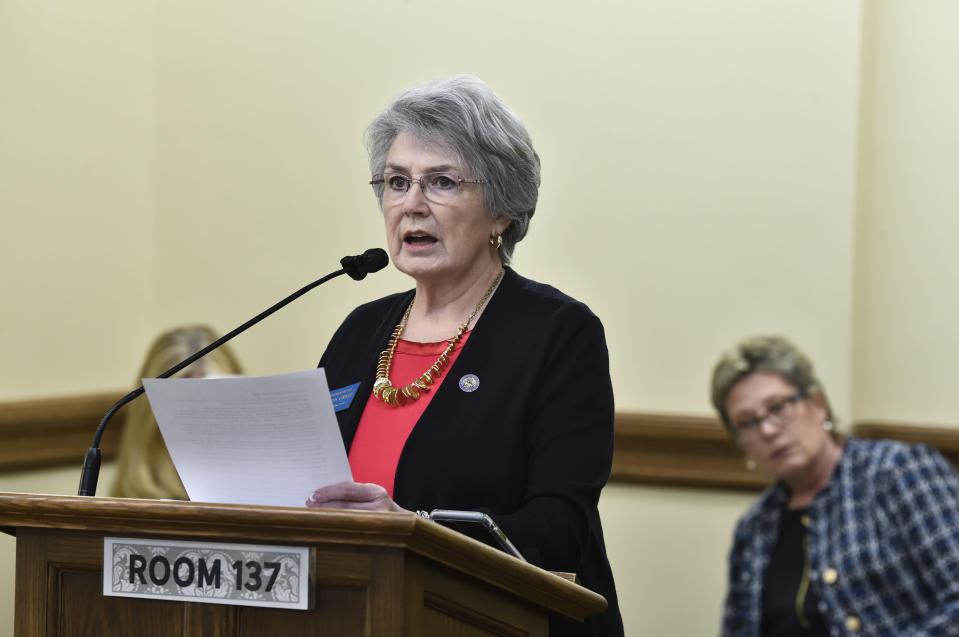 """FILE - In this Jan. 19, 2021, file photo, state Rep. Sharon Greef speaks at the State Capitol in Helena, Mont. Greef has called medication abortions """"the Wild West of the abortion industry"""" and says the drugs should be taken under close supervision of medical professionals, """"not as part of a do-it-yourself abortion far from a clinic or hospital."""" Opponents of the bans say telemedicine abortions are safe, and outlawing them would have a disproportionate effect on rural residents who face long drives to the nearest abortion clinic. (Thom Bridge/Independent Record via AP, File)"""
