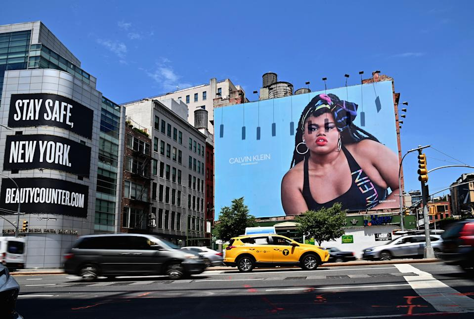 "A New York City billboard featuring Black trans model Jari Jones in a Calvin Klein ad. When her mother saw it, Jones says, ""she just wept."" (Photo: Angela Weiss/AFP via Getty Images)"
