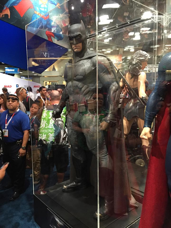 """<p>This is new-look celluloid Batman suit, worn by Ben Affleck in """"Batman v Superman"""" and """"Suicide Squad.""""</p>"""