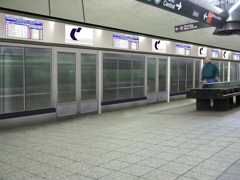 In this 2007 digital illustration provided by Crown Infrastructure, an image showing what a proposed safety system would look like if installed in the New York subway system at the Grand Central station is shown. New York City transit officials are considering installing barriers like this one after two people were pushed and a third fell to their deaths on the tracks since early December 2012. (AP Photo/Crown Infrastructure)